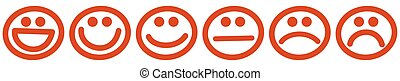 Six red stamps with smiling faces - six smiling faces stamps...