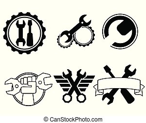 Six repair shop logos