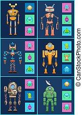 Six Robots, Icons Set, Color Vector Illustrations