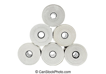 Six rolls of thermo paper for receipt printers and...