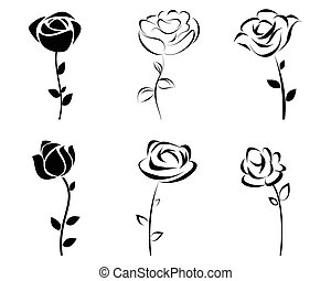 Six roses silhoutte