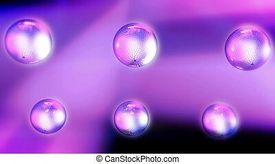 Six Rotating disco balls with reflected lights. Seamless loop