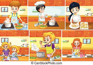 Six scenes of people cooking in kitchen