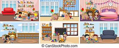 Six scenes with children doing activities in different rooms