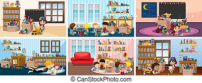 Six scenes with children playing in the room