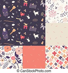 Six seamless patterns - Six seamless theme patterns in...