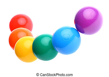 Six shiny coloured plastic balls - Red, orange, yellow,...