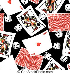 Six sided dice and blackjack cards seamless pattern