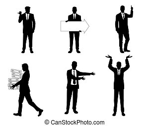 six, silhouette, hommes affaires