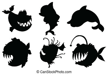 Six silhouettes of fishes with big fangs