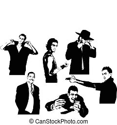 Six silhouettes of handsome men. V