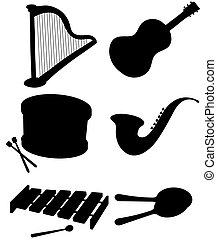 Six silhouettes of musical instruments