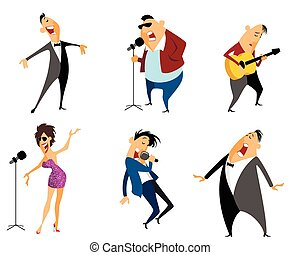 Six singers set - Vector illustration of a six singers set