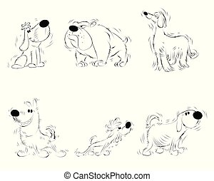 Six sketches of dogs