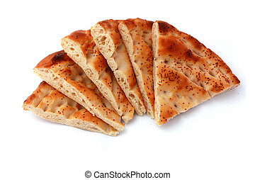 Six slices pita bread isolated on white. Popular food in ...