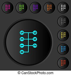 Six speed manual gear shift dark push buttons with color icons