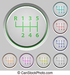 Six speed manual gear shift push buttons