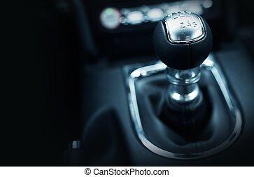 Six Speed Stick Shift Car Transmission. Stick Shift Driving....