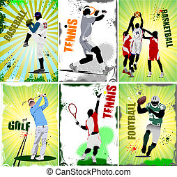 Six sport posters. Football, baseball, tennis, soccer,...