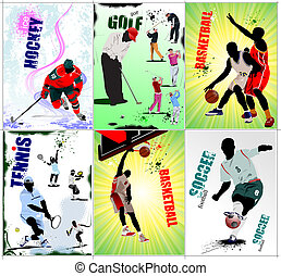 Six sport posters. Football, Ice hockey, tennis, soccer,...