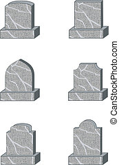 six standard granite gravestone or headstone shapes
