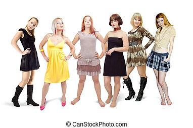 Six standing girls in dress