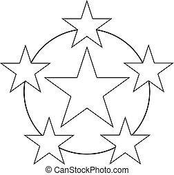 Six Stars Rating Icon For Great Business Service Black Vector Illustration