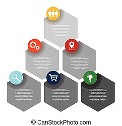 six step hexagon flat vector infographic template with icons