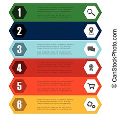 six step hexagon infographic template with icons