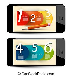 Six Step Infographic Layout on Mobile Phone Screens - Vector Business Concept Design.