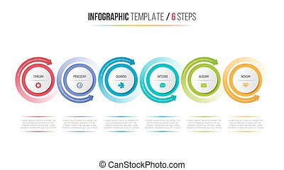 Six steps infographic process chart with circular arrows.