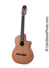 acoustic guitar on white background