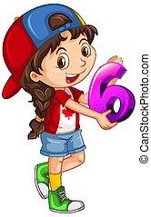 six, tenue, math, girl, porter, casquette, nombre, canadien
