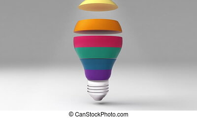 Six title 3D bulb shape box, visualization shape a light bulb, presentation templete.