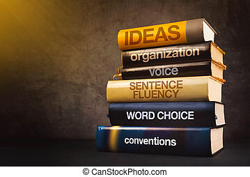 Six Traits of Effective Writing on Stack of Used Old Books...
