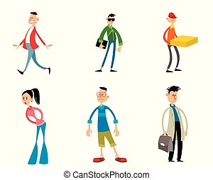 Six trendy funny cartoon characters