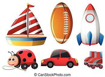 Six types of childhood toys illustration