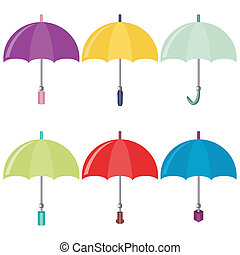 six umbrellas on white background - six different colors...