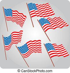 Six USA flags