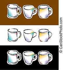 Six vector coffee cups