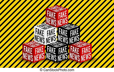 Six vector dices with inscription: fake news