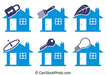 Six vector house drawings. - Six vector house drawings in...