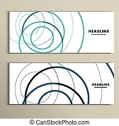 Six vector pattern with abstract circle banner