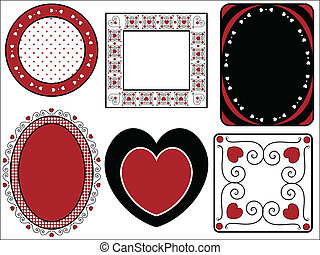 Six Vector Valentine Frames