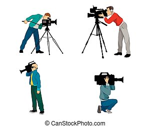Six videographers set - Vector illustration of a six ...