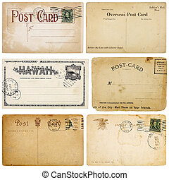 Six Vintage Postcards - A set of six heavily aged postcards...