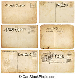 A set of six heavily aged but unstamped post cards from early 1900s. Postcards are blank with room for your text and images. Isolated on white with clipping paths.