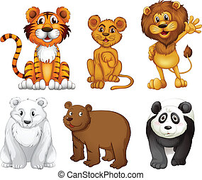 Six wild animals - Illustration of the six wild animals on a...