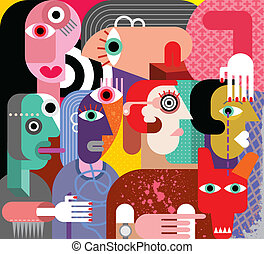 Six women and dog - abstract art vector illustration.