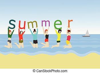 Six women jump on the sand. In hand, holding the alphabet ''summer'' With sea as background